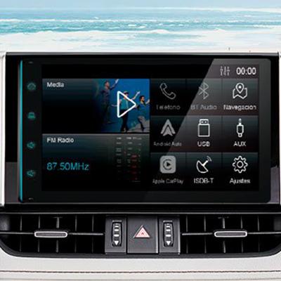 """RADIO TOUCHSCREEN DE 8""""   Una radio de 8"""" completamente nueva, con radio, MP3, bluetooth, Apple CarPlay®, Android Auto® y puerto USB en el panel central para que disfrutes al máximo tu viaje y música (Imagen referencial)."""