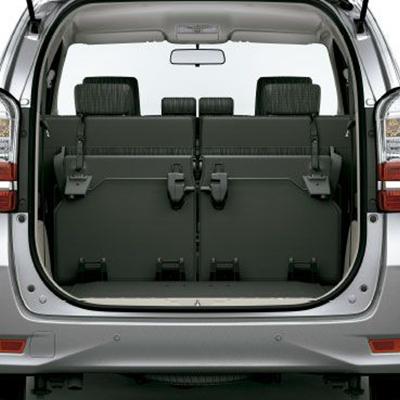 Área de Carga.   Las dos filas posteriores pueden ponerse en horizontal para ampliar el área de carga. La altura del piso es la ideal para facilitar la carga y descarga.