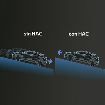 HAC (ASISTENTE DE PARTIDA EN PENDIENTE)   Experimenta un mayor control en pendientes ascendentes para evitar colisiones con vehículos que se encuentren detrás de ti.