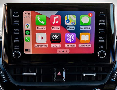 SISTEMA DE AUDIO CON PANTALLA TÁCTIL DE 7° Sistema equipado con radio AM/FM, CD/DVD, USB, Bluetooth, Apple CarPlay® y Android Auto ®.